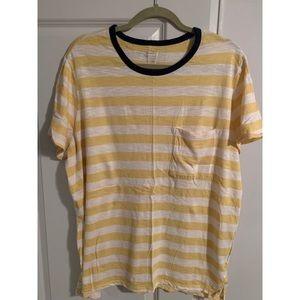 Old Navy Yellow Striped Boyfriend T-Shirt